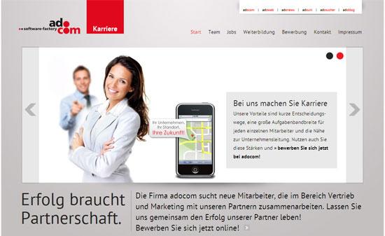Screenshot der neuen Karriere-Seite von adocom