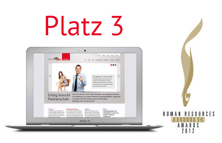 "Screenshot adocom Karriere-Website ""Platz 3 beim HR Excellence Award"""