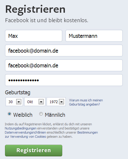 Der private Facebook-Account bei Facebook