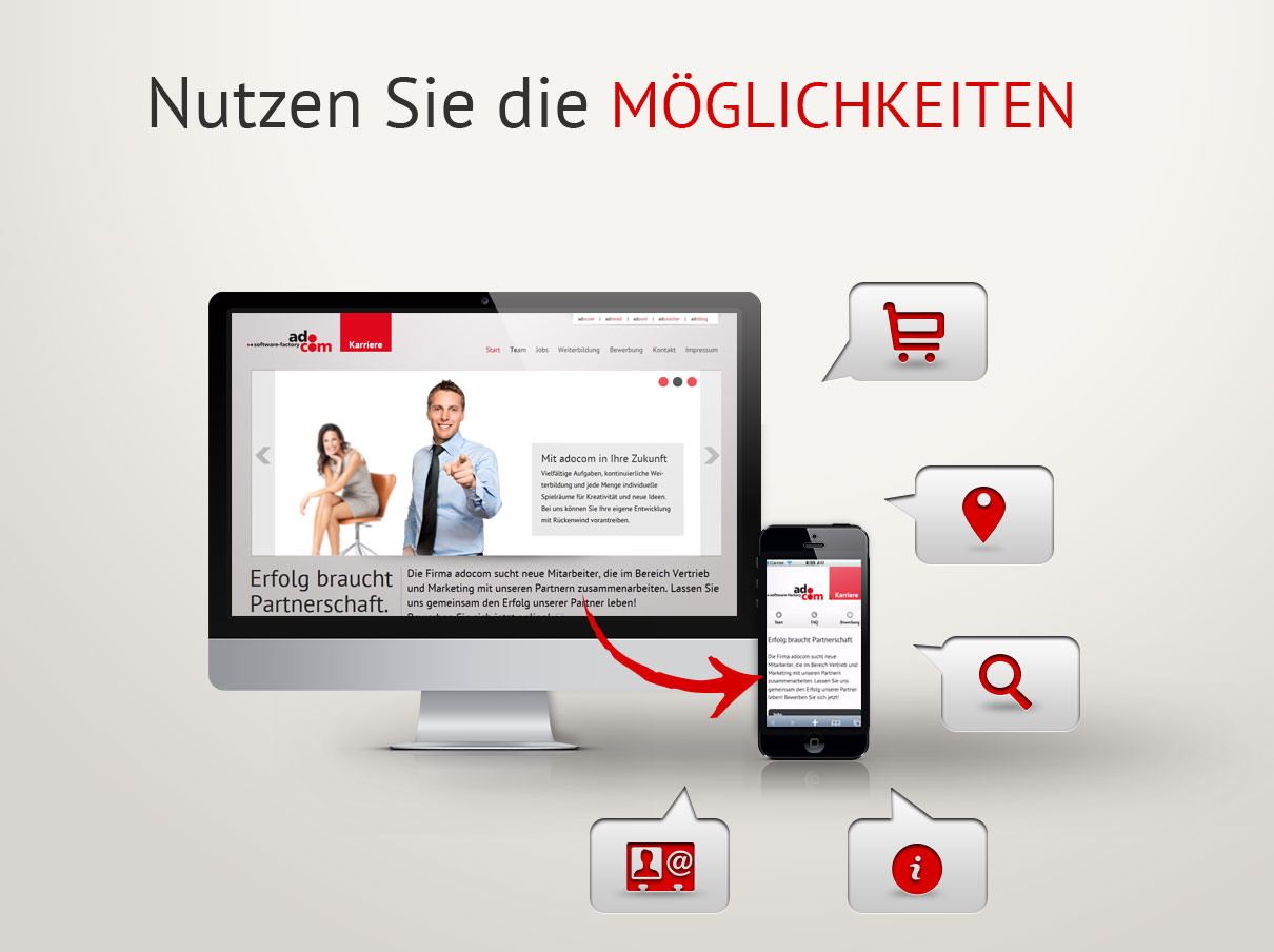 Desktop-Website und mobile Version