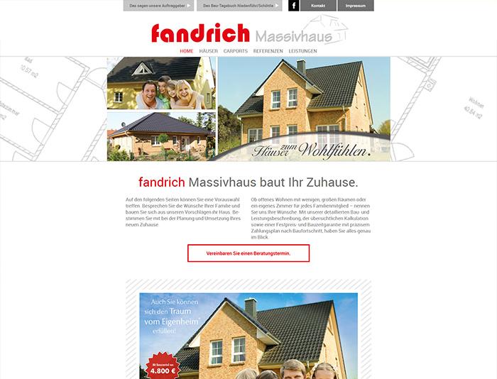Website der Firma Fandrich Massivhaus