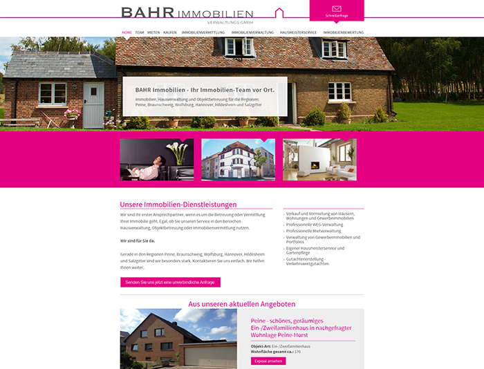 Website der Firma BAHR Immobilien
